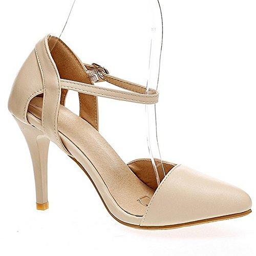 LongFengMa Women Elegant Office Lady High Heel Sandals Pointed Toe Beige XIFlX9