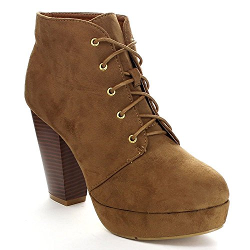 Forever Camille-86 Women's Comfort Stacked Chunky Heel Lace Up Ankle Booties Premium Tan