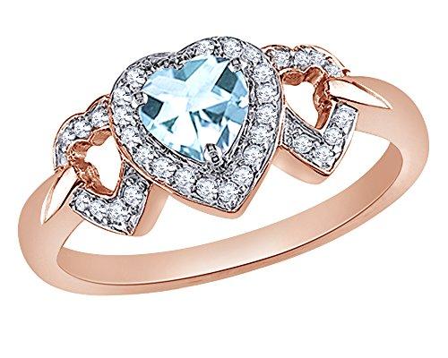 Wishrocks 0.125 CT Heart Cut Simulated Blue Topaz & Diamond Triple Heart Ring in 10K White Gold ()