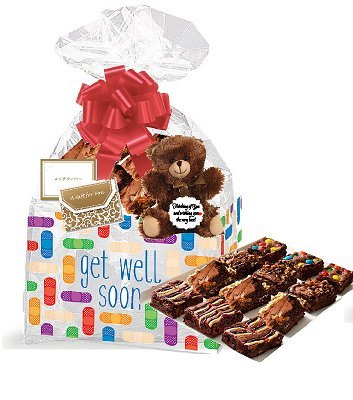 Get Well Gourmet Food Gift Basket Chocolate Brownie Variety Gift Pack Box (Individually Wrapped)