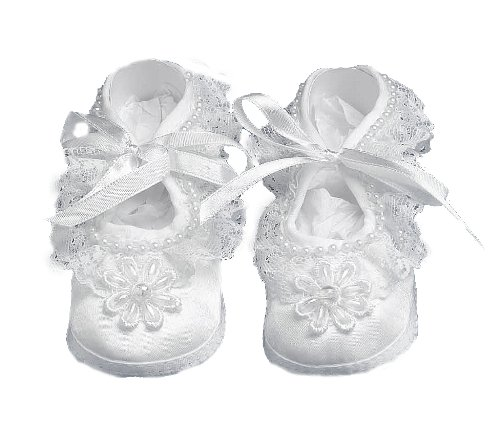 Lauren Madison Baby girl Christening Baptism Satin Shoes With Hand Made Pearl Trimmed Flower , White, Small from Lauren Madison