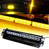 SmallFatW 12 LED 7 Flash Patterns High Intensity Emergency Law Enforcement Vehicles Truck Warning Visor Strobe Deck Light Min Bar Fit for Interior Roof/Dash/ Windshield with Suction Cups (Amber)