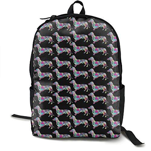 Klnsha7 Prismatic Triangular Dachshund Casual.jpg Travel High School Backpacks Lightweight Bag for College Girls Womens