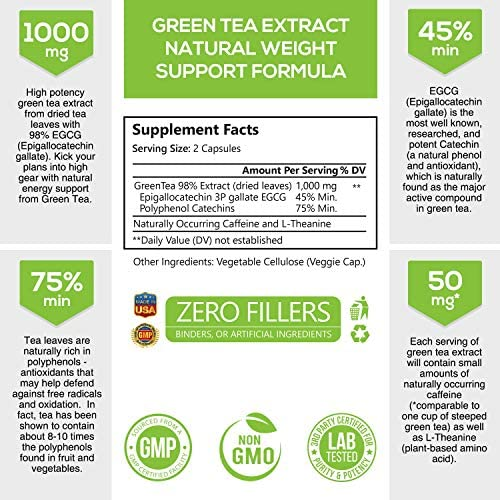 Green Tea Extract 98% Standardized Egcg for Healthy Weight Support 1000mg - Supports Healthy Heart, Metabolism & Energy with Polyphenols - Gentle Caffeine, Made in USA - 240 Capsules 2