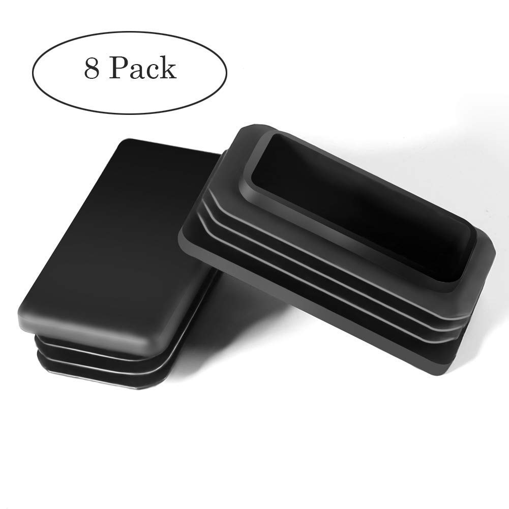 MELIFE 2' Square Tubing Black Plastic Plug - Fence Post Pipe Cover Tube Chair Glide Insert Finishing Plug(8 Pack)