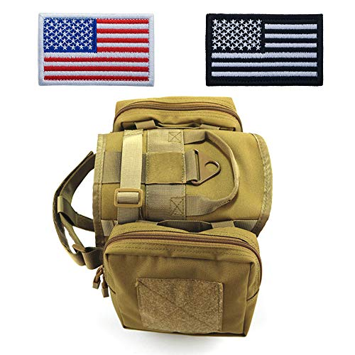 Tactical Dog Pack Hound Travel Camping Hiking Backpack Rucksack, Dog Harness Vest with Two Removable Saddle Bags Pouches for Medium Large Dog (Two American Flag Patches Optional)-TAN Combination-L