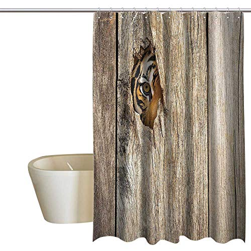EwaskyOnline Safari Decor Polyester Shower Curtain Siberian Tiger Eye Looking Through Wooden Peep Hole in Spy Predator Big Cat Wild Colorful Shower Curtains W72 x L72