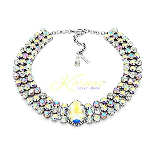 - BETTER THAN UNICORNS Extra Large Statement Necklace Made With Swarovski Crystal *Antique Silver *Karnas Design Studio™
