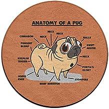 Fuuny Pug Anatomy Round Floor Rug Doormats For Dining Room Bedroom Kitchen Bathroom Balcony