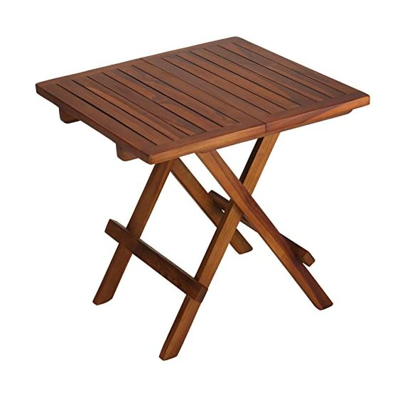 "Bare Decor Ravinia Folding Teak Small Table, Oiled Finish - Small Folding Table Solid Weather Resistant Teak Wood Dimensions:19.5W x 19.5"" D x 19.75"" H - patio-tables, patio-furniture, patio - 51dJlLpSm2L. SS570  -"