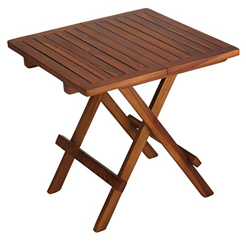 Bare Decor Ravinia Folding Teak Small Table, Oiled Finish (Fold Small Sides Down Table With)