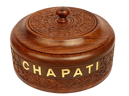The Indian Arts Diwali & Christmas Gift Kashmiri work Chapati BOX with Stainless Steel inner part