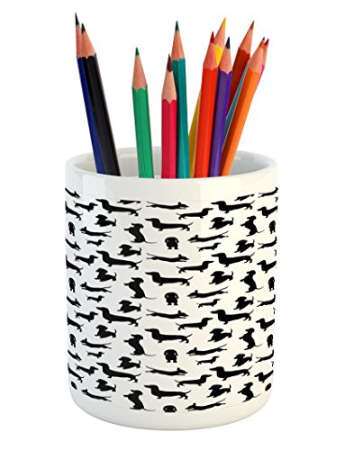 Ambesonne Dog Lover Pencil Pen Holder, Monochrome Dachshunds