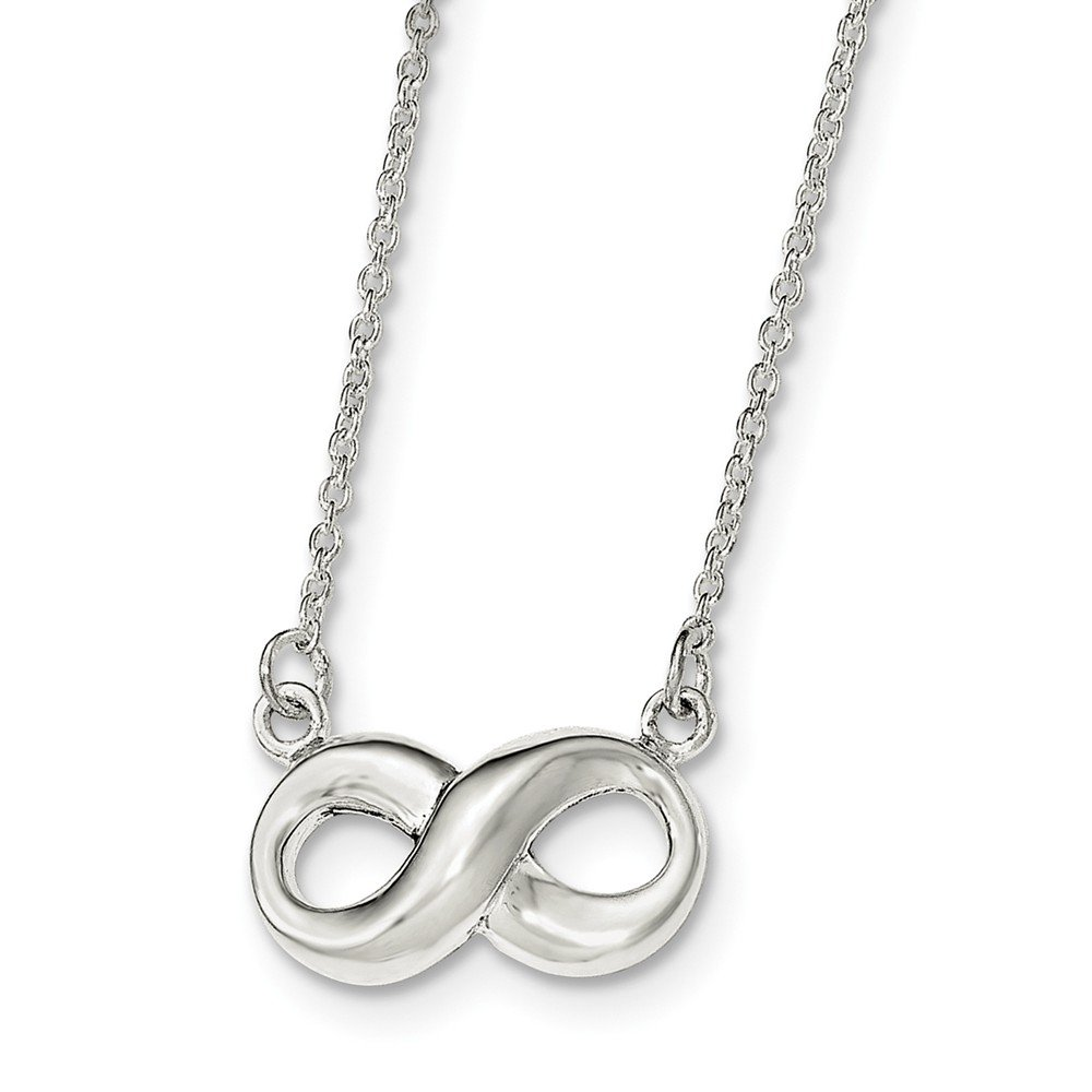 Sterling Silver Polished Infinity Necklace 17