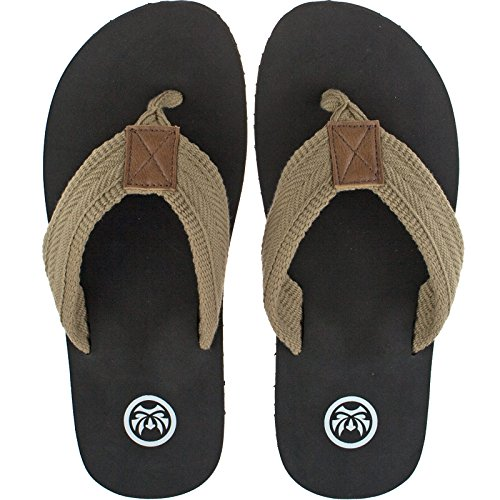 Urban Beach Mens Luxor Brown Textile Toe Post Flip Flop Beach Sandals-UK 7 (EU 41)