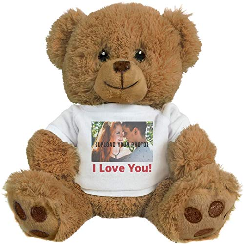 Cute Custom Photo Valentine's Bear Gift: 8 Inch Teddy Bear Stuffed Animal -