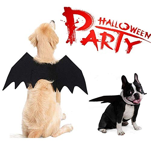 MGPET Dog Bat Wings, Halloween Pet Bat Costume Dogs Cats, Vampire Bat Fancy Dress Costume Outfit Wings Christmas (S, Dog)