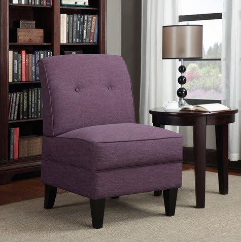 Portfolio Engle Modern Amethyst Purple Linen Armless