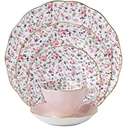 Royal Albert 8704025822 New Country Roses Rose Confetti Vintage Formal Place Setting, 5-Piece