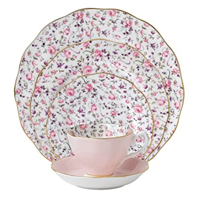 Royal Albert 8704025822 New Country Roses Rose Confetti Vintage Formal Place Setting, 5-Piece - Dinner plate, salad plate, bread and butter plate, teacup and tea saucer Made of fine bone china Inspired by old country roses - kitchen-tabletop, kitchen-dining-room, dinnerware-sets - 51dJmEfiRuL. SS400  -