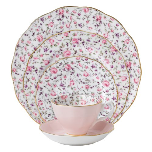 (Royal Albert 8704025822 New Country Roses Rose Confetti Vintage Formal Place Setting, 5-Piece)