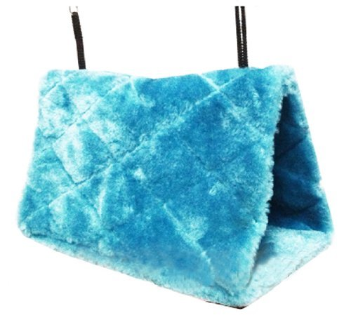 Generic Parrot Hammock Happy Hut Hideaway Fluffy Cave Cage Snuggle Tent Bunk Bird Toy (Blue, M)