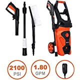 Airous Electric Pressure Washer-2100PSI 1.8 GPM 1800W Power Cleaner Machine- with Adjustable Spray Nozzle, Extra Turbo Nozzle, Onboard Detergent Tank,Cleaning Brush,Water Pipes and Fittings