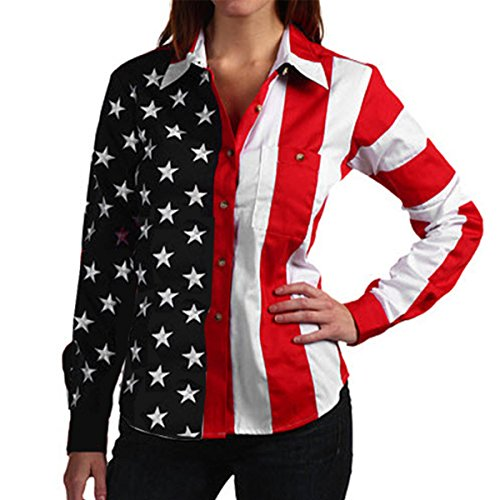 Woven Long Sleeve American Flag Women's Polo Shirt (Large)