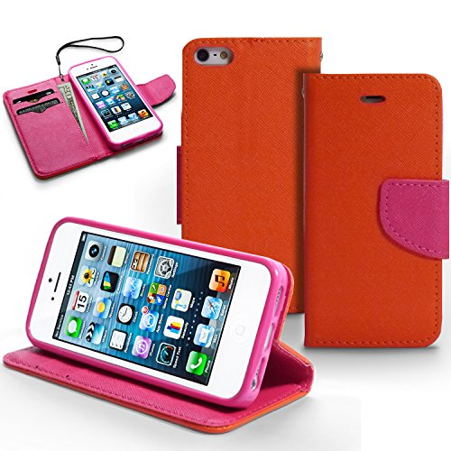 iPhone 5S Case, MagicMobile Hybrid Deluxe Flip Colorful Protective PU Leather Wallet Case for iPhone 5 Leather Card Holder iPhone 5s Cover [ Color: Orange] with Clear Screen Protector and Stylus