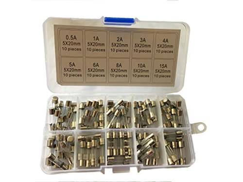 KOLACEN Quick Fast-Blow Glass Tube Fuse 5 x 20 mm Assorted Kit 0.5Amp 1Amp 2Amp 3Amp 4Amp 5Amp 6Amp 8Amp 10Amp 15Amp (Pack of 100)