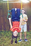 """Jungle Gym Kingdom 18"""" Trapeze Swing Bar with Rings 48"""" Heavy Duty Chain Swing Set Accessories & Locking Carabiners - Green"""