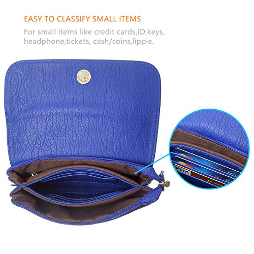 Size Phone MINICAT Series For small Crossbody Cell Wallet Women Roomy Pockets Purse Small Bag Blue 6Ew0xW6fqr