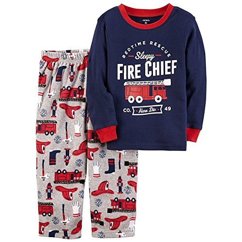 Carter's Boys' 12M-4T 2 Piece Fire Chief Cotton and Fleece Pajamas 18 Months