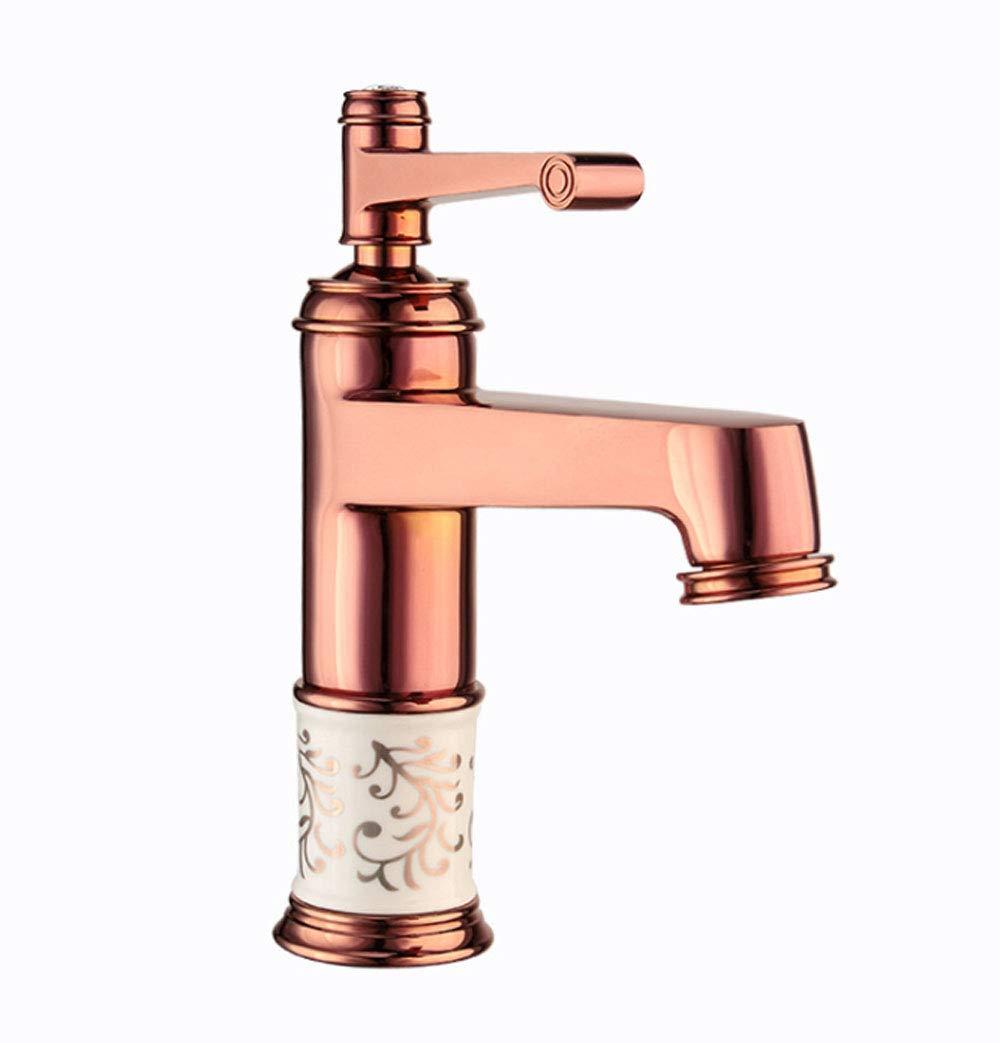 HYXSLT Wasserhahn alle Kupfer Keramik einzigen Loch Waschbecken Wasserhahn Bad heiß und kalt Wasserhahn Wasserfall Wasserhahn