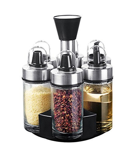 (Revolving Herb and Spice Rack 6-Glass Jars Bottles with 3 Types Openings For Kitchen Counter)
