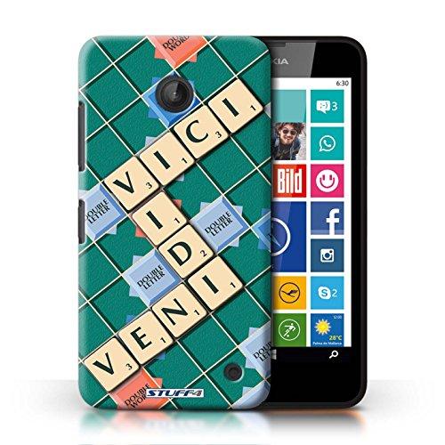 Kobalt® Imprimé Etui / Coque pour Nokia Lumia 635 / Veni Vidi Vici conception / Série Mots de Scrabble