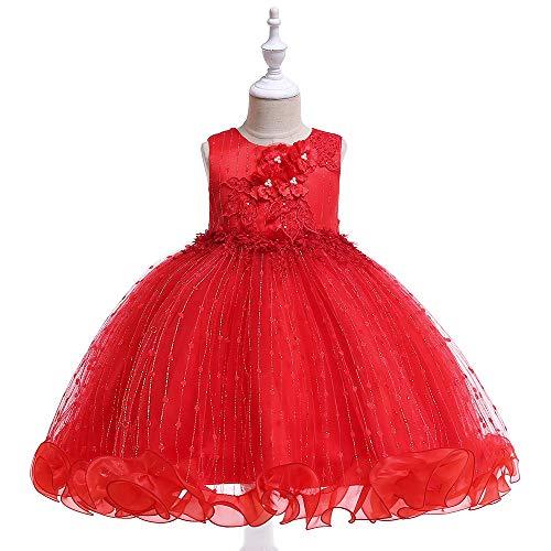 LIVFME Little Girls Party Dresses Red Kids Wedding Dress Folwer Girl Princess Elegantes Special Occasion Dresses 5t 6t M09C140 -