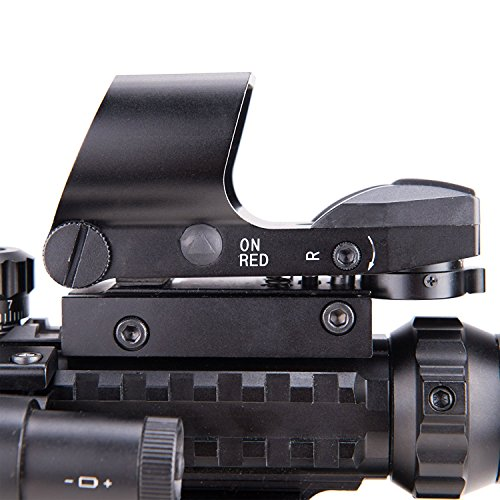 51dJnaHXkIL - Pinty AR15 Rifle Scope 3-9x32EG Rangefinder Illuminated Optics Reflex 4 Reticle Red&Green Sight Green Dot Laser Sight with 22 & 11mm Weaver/Picatinny Rail Mount