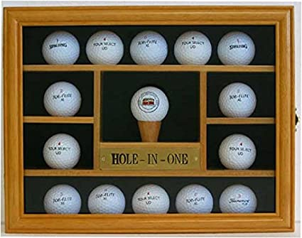 15 Golf Ball Display Case Holder Wall Cabinet, Hole-in-One Plate,