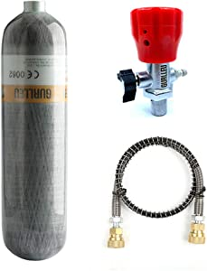 Gurlleu Carbon Fiber Air Tank, 30 Cu Ft / 4500 PSI, CE Approved, PCP Paintball Compressed Air System with Regulator Valve (Empty Bottle)