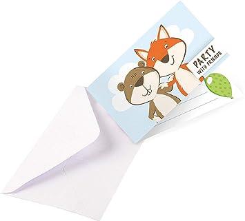Juego De Tarjetas De Invitación De 16 Piezas Fox Beaver