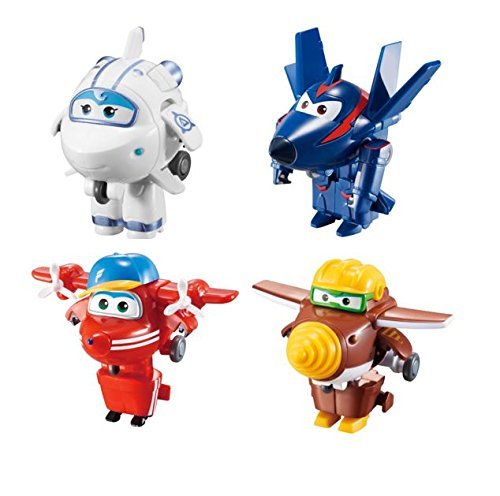 """Super Wings Transform-a-Bots 4 Pk – Flip /Todd /Agent Chase/Astra 2"""" Scale"""