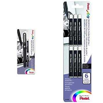 Pocket Brush Pen 1 pen//2 refill per package Pentel GFKP3BPA