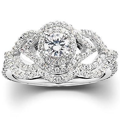 1 ct diamond intertwined engagement matching wedding ring set 10k white gold - Matching Wedding Ring Sets