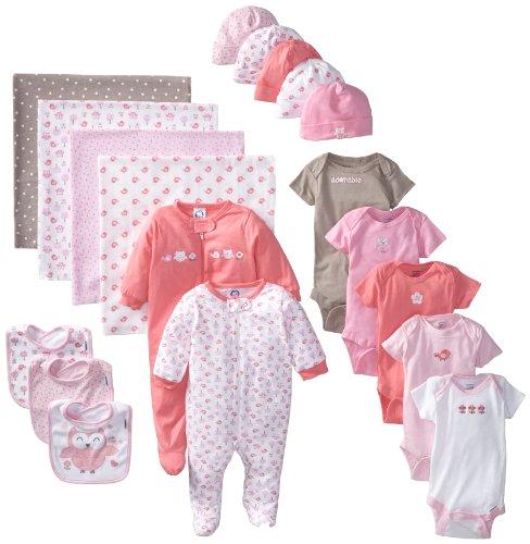 Gerber Baby Girls' 19 Piece Essentials Gift Set, Pink, 0-3 Months