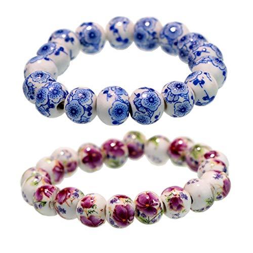 UHANGETH Chinese Ethnic Style Blue and White Porcelain Beads(10mm) Elasticity Lucky Couple Bracelet Set (Love)