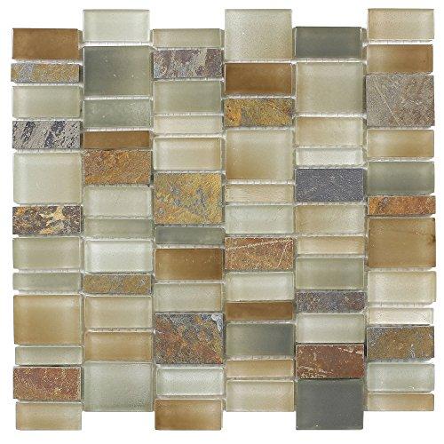 (MTO0178 Modern Slate Brown Gray Glossy Matte Glass Stone Mosaic Tile )