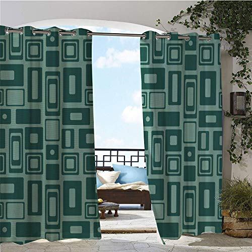 - Linhomedecor Outdoor Waterproof Curtain Geometric Monochromatic Pattern Retro Style Shapes Rectangles Squares Circles Seafoam and Teal doorways Grommet Privacy Curtain 72 by 96 inch