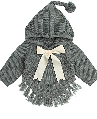 (ReachMe Baby Girl Hooded Pullover Sweater Knitted Cardigan Coat Winter Outerwear(Grey,18 Month))