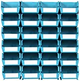 Triton Products LocBin 3-210TBWS Wall Storage Unit with  Interlocking Poly Bins, 24-Count, Teal, 26-Piece